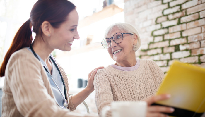 A senior benefits from companion care services